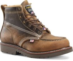 Carolina Domestic 6 Inch Moc Toe Work Boots in Dark Brown - Carolina Mens Work-Outdoor on Shoeline.com Ankle Boots Men, Brown Fashion, Timberland Boots, 6 Inches, Fashion Boots, Dark Brown, Hiking Boots, Toe, Leather