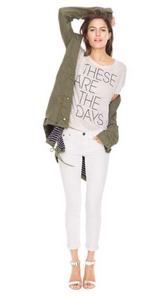 White jeans + graphic tee + army jacket