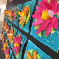 3-D Water Lily inspired by Claude Monet. Visit website to watch a 7 minute video tutorial on this lesson! 2nd grade art lessons, elementary art lessons. Tagboard, watercolors, salt, tissue paper, felt. Art with Mrs Filmore – Adventures in the Art Room /Art with Mrs Filmore