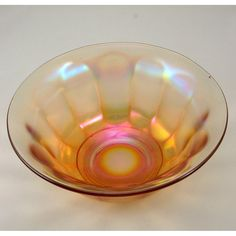 Clambroth Wide Panel Imperial Carnival Glass Bowl Vtg
