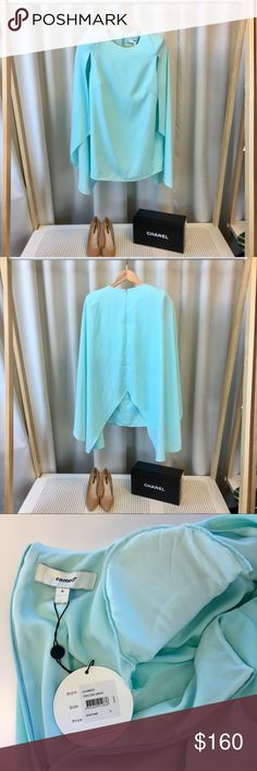 """Cameo """"This Love"""" Cape Dress in Mint via Nasty Gal Gorgeous mint mini dress with padded shoulders and cape overlay. Zip closure in back. Fully lined. Please carefully review each photo before purchase as they are the best descriptors of the item. Price is firm. 10% off bundle of 2. Bundles of 3 or more are negotiable. No trades. First come, first served. Thank you! :) Nasty Gal Dresses Mini"""
