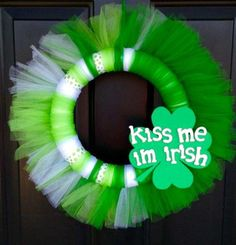 St. Patricks Day Tulle Wreath with Shamrock by TheDitzyDreamer