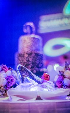 Cinderella inspired ice glass slipper topped with scrumptious sorbet