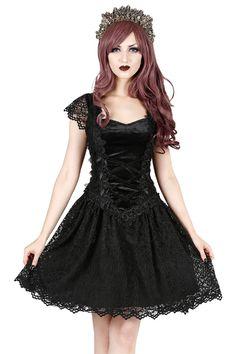 Laurie Black Velvet Gothic Lolita Mini Dress by Sinister