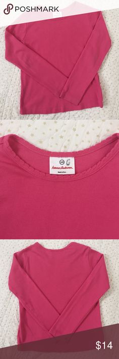 """Hanna Andersson Tee EUC. Only sign of wear is letter """"G"""" written on size tag!  Cute scalloped detailing on neck opening. Vibrant color. No fading or stains! Hanna size 140. Hanna Andersson Shirts & Tops Tees - Long Sleeve"""
