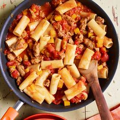 Easy clean up! Make this 30-Minute Meal Rigatoni with Sausage, Pumpkin and Tomato Sauce recipe from Rachael Ray in one pan!