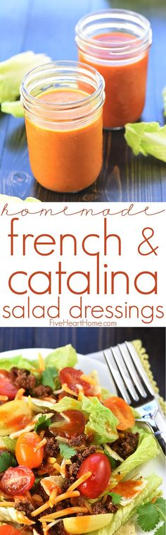 Homemade French & Catalina Salad Dressing ~ jazz up your favorite salads with this sweet-and-tangy dressing recipe, in French and Catalina varieties! Catalina Salad Dressing, Best Salad Dressing, Salad Dressing Recipes, Salad Recipes, Catalina Dressing Recipes, Avacado Dressing, Homemade French Dressing, French Salad Dressings, Homemade Salad Dressings
