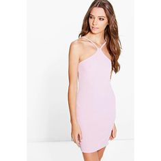 Boohoo Alix Strappy Racer Ribbed Bodycon Dress ($12) ❤ liked on Polyvore featuring dresses, lilac, evening dresses, white cami, white body con dress, holiday dresses and body con dress