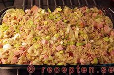 Ris, kassler, purjolök blandat 300 Calorie Lunches, Swedish Recipes, 300 Calories, Pasta Salad, Baking Recipes, Macaroni And Cheese, Bacon, Good Food, Pork
