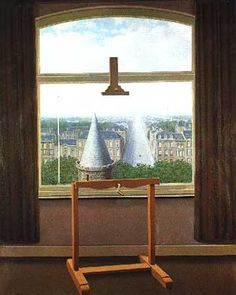 Learned about Rene Magritte in art class the other day and I'm really digging how clever he is!  If you can't tell, it's a painting of a painting sitting on an easel in front of  a window; you can just make out the endge of the canvas to the left.