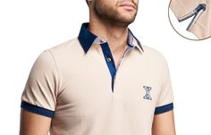 Beige Polo Shirt Checkered Lining Short-sleeves  $89.90 Men's Fashion XOOS French Shirts