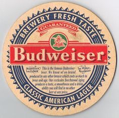Budweiser Beer Square Coaster Refrigerator / Tool Box  Magnet Man Cave