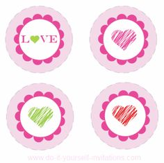 Print these cupcake toppers onto some plain white cardstock, trim, and glue them together back to back onto the ends of some lollipop sticks or flat toothpicks. They will look SO cute sticking form the tops of some pretty pink cupcakes! You can also attach them to straws for some decorative valentines drinks.