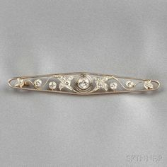 Edwardian Diamond Bar Pin, set with old European, transitional, and old single-cut diamonds, approx. total wt. 0.90 cts., platinum-topped 14kt gold mount, lg. 2 3/4 in.