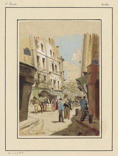 Watercolour & pen sketch of 19th century Paris street scene: people & buildings.  Title: Rue Pirouette 1893 Designed by: Hubert Clerget