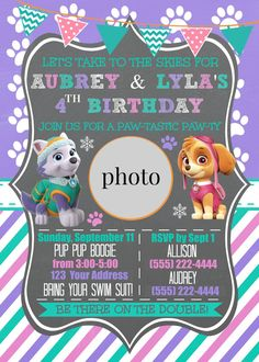 Paw Patrol Invitation // Everest & Skye