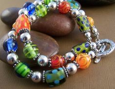 Happy Bracelet Lampwork Glass Bead with by StoneStreetStudio