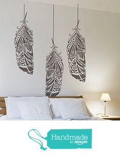 Feathers in the wind wall stencils for painting - Expedited 3 days delivery - Reusable wall stencil for DIY projects - Tribal pattern - Bohemian wall decor from Stencilit https://www.amazon.com/dp/B01A8TIJ0A/ref=hnd_sw_r_pi_dp_Kkqiyb26Y0BR6 #handmadeatamazon
