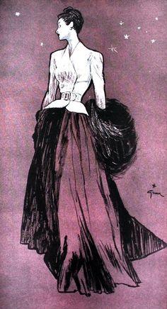 polar white and deep lavender__Femina (Noël) January 1947 Maggy Rouff, illustration by Rene Gruau Jacques Fath, Lanvin, Givenchy, Balenciaga, 1940s Fashion, Fashion Art, Vintage Fashion, Fashion Design, Fashion Illustration Vintage