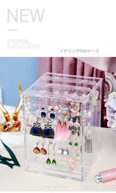 Lipstick Box, Earring Display, Display Shelves, Decorative Boxes, Container, Home Decor, Manualidades, Exhibition Stands, Decoration Home