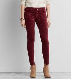 4b8498f6118 Burgundy AEO Velvet X Jegging Maroon Jeans