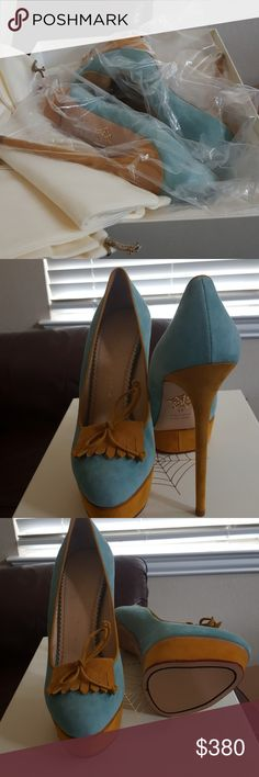 Beautiful CHARLOTTE OLYMPIA Brand new blue and yellow suede Charlotte Olympia Shoes Heels