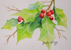 Original holly with berries handpainted watercolor greeting card small format