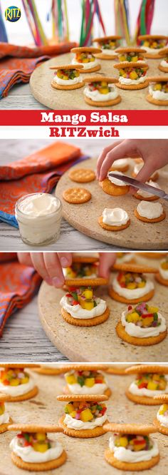 There's nothing like enjoying our recipe of flavor-filled Mango Salsa RITZwiches… Party Snacks, Appetizers For Party, Appetizer Recipes, Snack Recipes, Dessert Recipes, Cooking Recipes, Party Recipes, Cheese Recipes, Desserts