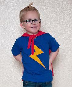 Look at this #zulilyfind! mini scraps Royal & Red Lightning Bolt Superhero Cape Tee - Infant & Toddler by mini scraps #zulilyfinds