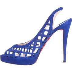 Pre-owned Christian Louboutin Suede Platform Sandals (1.242.770 COP) ❤ liked on Polyvore featuring shoes, sandals, blue, blue suede shoes, slingback platform sandals, blue sandals, suede sandals and platform shoes