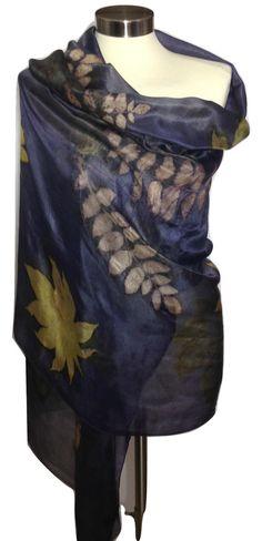 Silk Shawl, Eco Print, Purple Silk Scarf, Unique Scarves, Hand Made Silk Scarf, Womens Gift, Large Silk Scarf, Pattern Scarf, Women Shawl by rachelsilkscarves