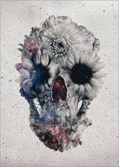Leinwandbild 90 x 120 cm: Floral Skull von Ali Gulec - fertiges Wandbild, Bild auf Keilrahmen, Fertigbild auf echter Leinwand, Leinwanddruck