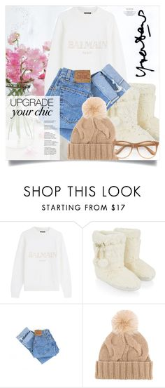 """""""cozy chic"""" by arohii ❤ liked on Polyvore featuring Dansk, Balmain, Accessorize, Levi's, Loro Piana, Wildfox and cozychic"""