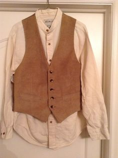 Men's size small/medium pioneer shirt and vest, costume Pioneer Costume, Pioneer Clothing, Fashion Days, Fashion Outfits, Pioneer Trek, Lucy Dresses, Dress Codes, Vest, Shirts