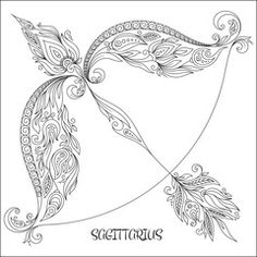Illustration: Hand drawn line flowers art of zodiac Sagittarius.