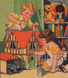 Vintage illustration, children and dollhouse.                                                                                                                                                                                 More
