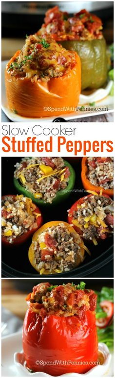 Slow Cooker Stuffed Peppers!  These are deliciously easy to make and love not having to use the stove during these hot summer days!