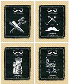 Vintage Barber Shop 4 Prints Shave Scissors Talcum Razor 8 x 10