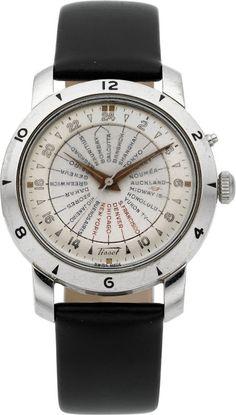 "Chs. Tissot & Fils Steel ""World Time"" Ref. 4002-2 Automatic,circa 1950"