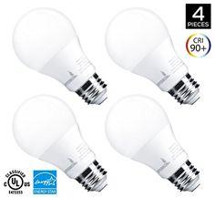 Hyperikon A19 Dimmable LED Light Bulb 9W (60W Equivalent) ENERGY STAR Qualified 3000K (Soft White Glow) CRI90 820 Lumens Medium Screw Base (E26) UL-Listed 4-Pack