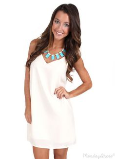The Game Ivory Shift Dress | Monday Dress Boutique