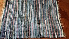 Denim with Pink Rag Rug, Floor Rug, Mat, Floor runner with white, blue and green string Check out this item in my Etsy shop https://www.etsy.com/listing/232376237/denim-with-pink-rag-rug-floor-rug-mat