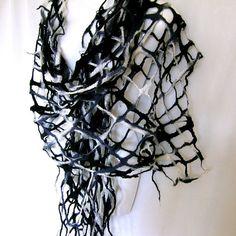 Felt Scarf, Lattice Lacy Scarf, Black White Gray Felted Scarf, Merino Wool Wrap