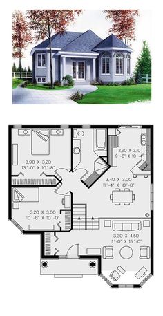 Victorian House Plan 65268 | Total Living Area: 1001 sq. ft., 2 bedrooms and 1 bathroom. #victorianhome Sims Haus, 2 Bedroom House Plans, Dream House Plans, Small House Plans, House Floor Plans, Villa Plan, Victorian House Plans, Victorian Homes, Sims Building