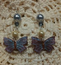 Polymer Butterfly and Pearl Earrings