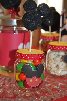 Baby food jars repurposed as favors at a Mickey Mouse Party -- It woun't take much to change this to a Minnie party. Fiesta Mickey Mouse, Mickey Mouse Clubhouse Birthday Party, Mickey Mouse 1st Birthday, Mickey Y Minnie, Mickey Mouse Parties, Mickey Party, 2nd Birthday, Birthday Ideas, Baby Jars