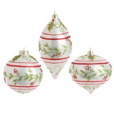Raz Imports - White, Red and Green Glass Holly Ornaments