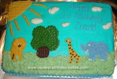 Homemade Safari Birthday Cake: I made this Safari Birthday Cake for my son's first birthday. The cake was a simple white cake recipe with orange zest+juice added. The icing was lemon