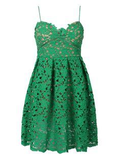 Green, Crochet Lace, Spaghetti Strap, Skater Dress