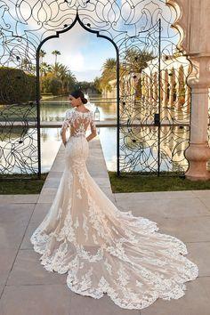 Wedding Sandals For Bride, Bridal Wedding Dresses, Dream Wedding Dresses, Bridal Style, Lace Wedding, Perfect Wedding Dress, Dream Dress, Cathedral Train, Mermaid Gown